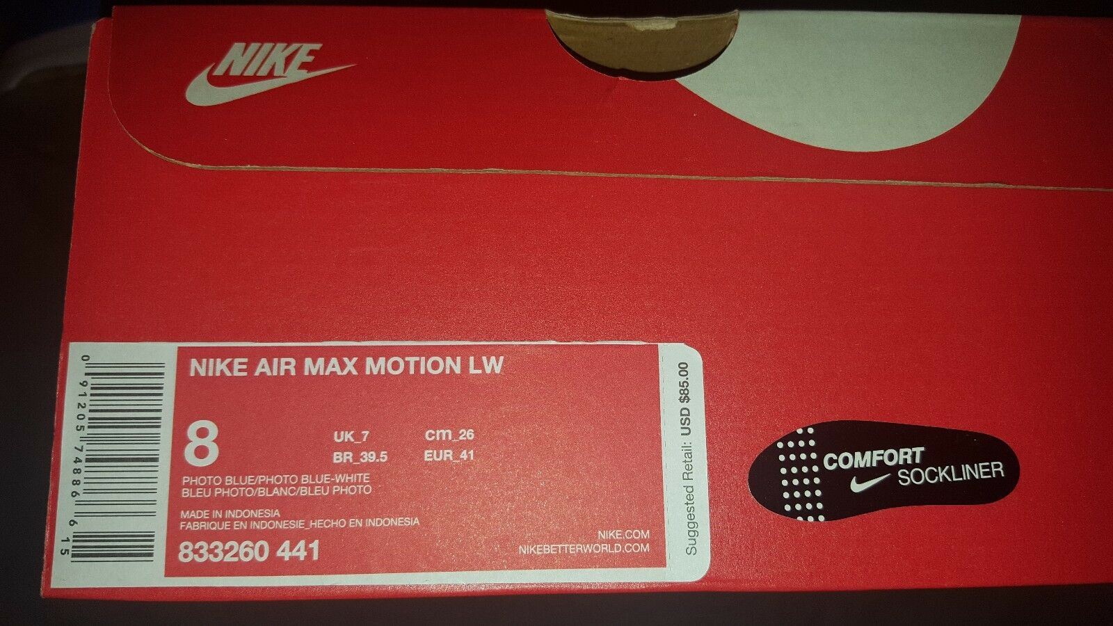 NIKE AIR MAX MOTION LW MENS SHOES PHOTO PHOTO PHOTO blueE WHITE 833260 441 US 8 NEW IN BOX df5e65