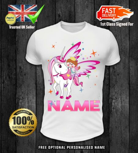 Optional Personalised Name Girls Unicorn Princess T-Shirt Childrens Kids T Shirt