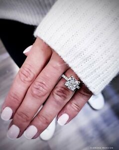 1.80tcw Natural Cushion Cut Pave Set Diamond Engagement Ring - GIA Certified