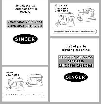Singer 2802 2808 2818 Instruction Manuals Or Service Parts Books On Cd Pdf Ebay