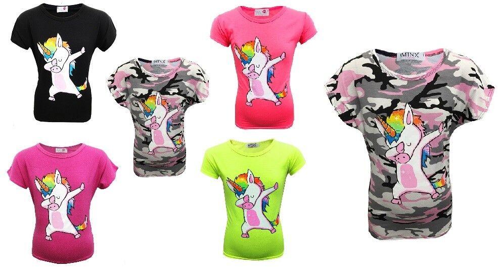8dfe98eff Nuevo Niña Unicornio DAB Camiseta de Verano Camuflaje Rosa Negro 7 8 9 10  Años