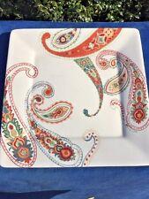 Tabletops Gallery Misto Multi Paisley Square Dinner Plate Platter Hand  Painted