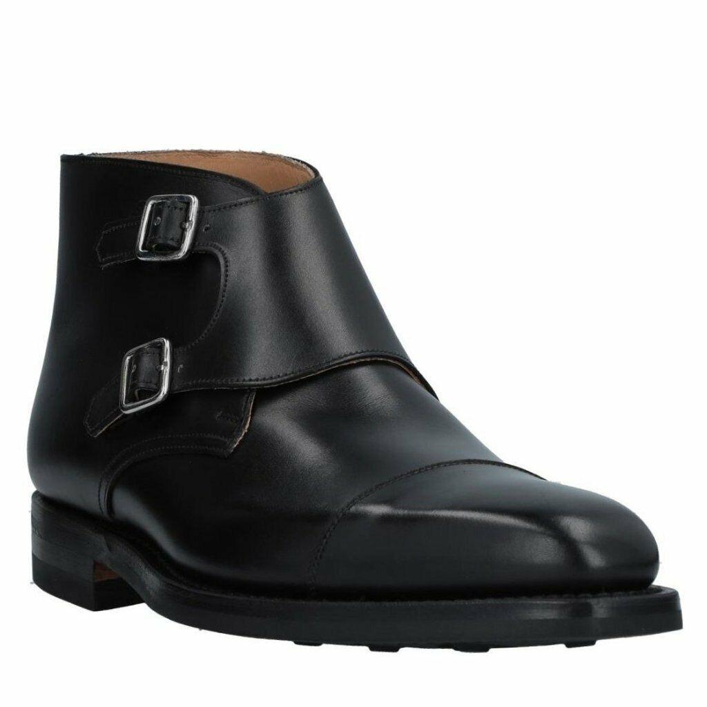 Crockett Jones Camberly Double Buckle Leather stivali scarpe 9.5   10 Made in Engla  il più recente
