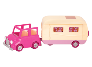 Li'l Woodzeez Animal Figurine Playset and Accessories - Happy Camper, Pink - 39