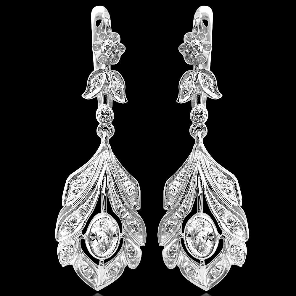 Russian Style 14k White gold Genuine G SI1 Diamond Drop Earrings  E1232
