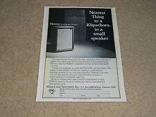 Klipsch Heresy, Klipschorn Speaker Ad, 1974, 1 page, Article