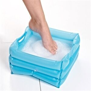 BLUE-INFLATABLE-FOOT-BATH-TRAVEL-PORTABLE-SMALL-SQUARE-EASY-STORAGE-SPA-SOAK