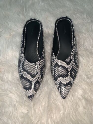 Vince Ralston Snake Skin Leather Mules Block Heel