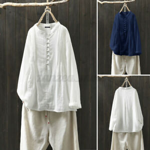 Womens Cotton Full Sleeve Button Down T-Shirt Solid Baggy Long Tops Blouses Plus
