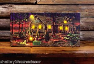 Cabin Hunters Campfire Led Lighted Canvas Wall Art By