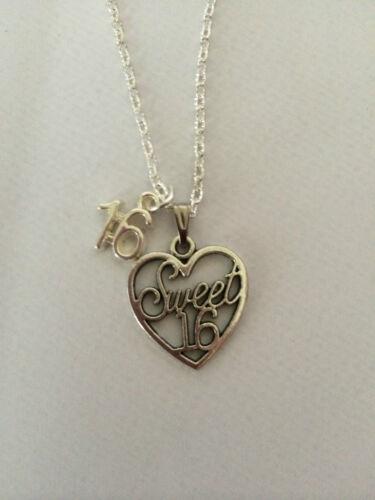 """Sweet Sixteen Corazón Collar de encanto 16th cumpleaños regalo de 18/"""" Cadena de Plata Plateado"""