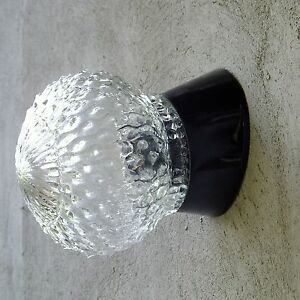 Vintage-Lamp-ART-DECO-Mid-Century-Round-Glass-Shade-Wall-LIGHT-Sconce-FIXTURE