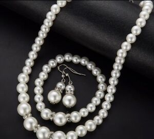 Image Is Loading White Pearl Faux Crystal Necklace Earrings Bracelet