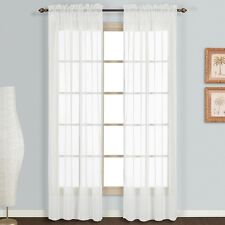 """2 Pack Fully Stitched Sheer Window Curtain Panel Drapes in 63"""" or 84"""" Length"""