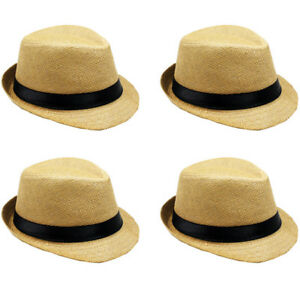 La imagen se está cargando Infantil-Sombrero-Fedora-Paja-Nino-Nina -Marron-Claro- 01122d937f0