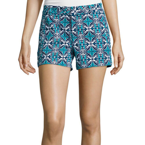 6 Stylus Twill Cotton Shorts Size 2 16 New Msrp $32.00 Island Teal Geo