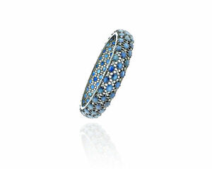 Blue-Sapphire-Gemstone-Bangle-925-Sterling-Silver-Pave-Diamond-Vintage-Jewelry