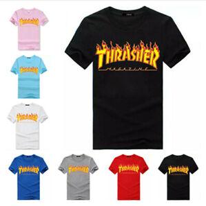 3ba2e7254896 2019 Men Women Kids Tee Thrasher T-Shirt Flame Skateboard Short ...