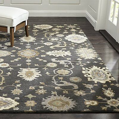 Crate And Barrel Juno Gray Parsian Oriental Style Handmade Woollen Rugs Carpet Ebay