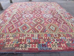 Kilim-Old-Traditional-Hand-Made-Afghan-Oriental-Blue-Wool-Large-Kilim-495x406cm