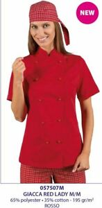 Lady Donna Chef Red Cook corte Isacco Giacca Maniche HCwqfx