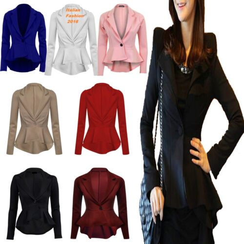 Donna Crop Frill Turno Slim Fit Aderente Peplum Blazer Jacket Coat UK 8-14