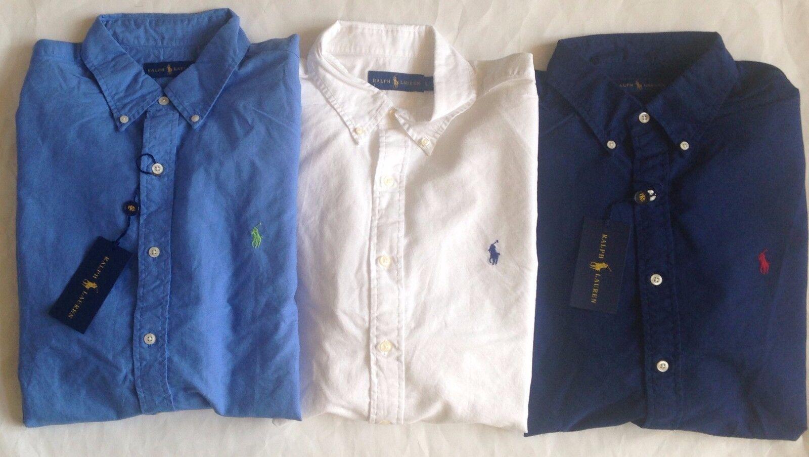 NWT Mens Polo Ralph Lauren Garment Dyed Long Sleeve Woven Button Sport Shirt