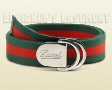 GUCCI red & green belt 46-115 Canvas SCRIPT Logo D-RING Slip buckle NWT Authentc