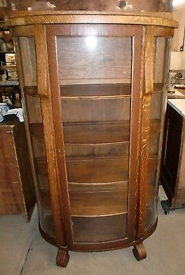 Antique Oak China Cabinet Curio Cupboard Curved Glass Empire Feet