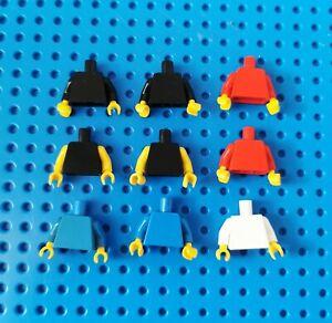 Lego-9x-Figur-Torso-Oberkoerper-Haende-Jacke-blank-973-rot-weiss-blau-schwarz-80