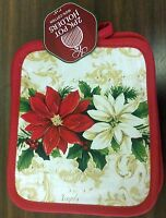 Rare Set Of 2 Printed Jumbo Pot Holders, 7 X 8, Red & White Flowers, Red Back