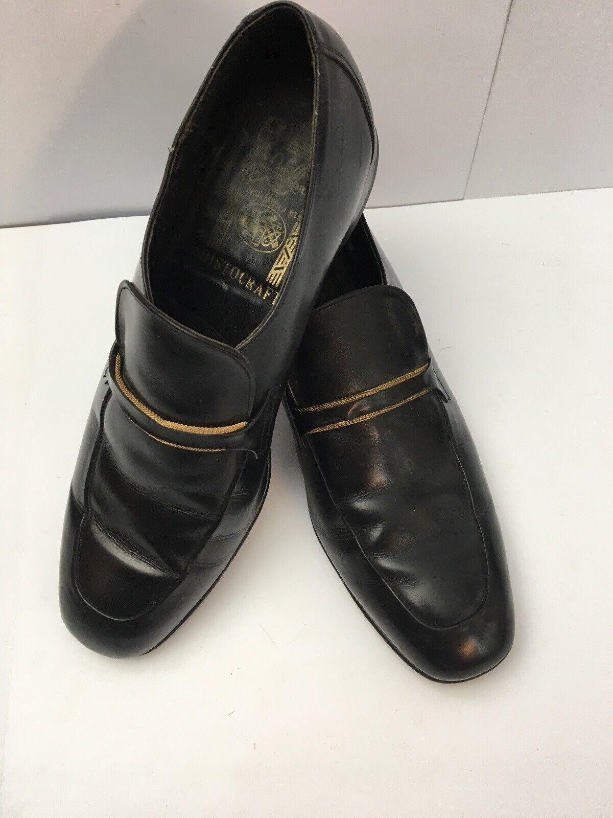 Vintage Johnston Murphy Aristocraft Black Loafer Dress shoes 9 D B
