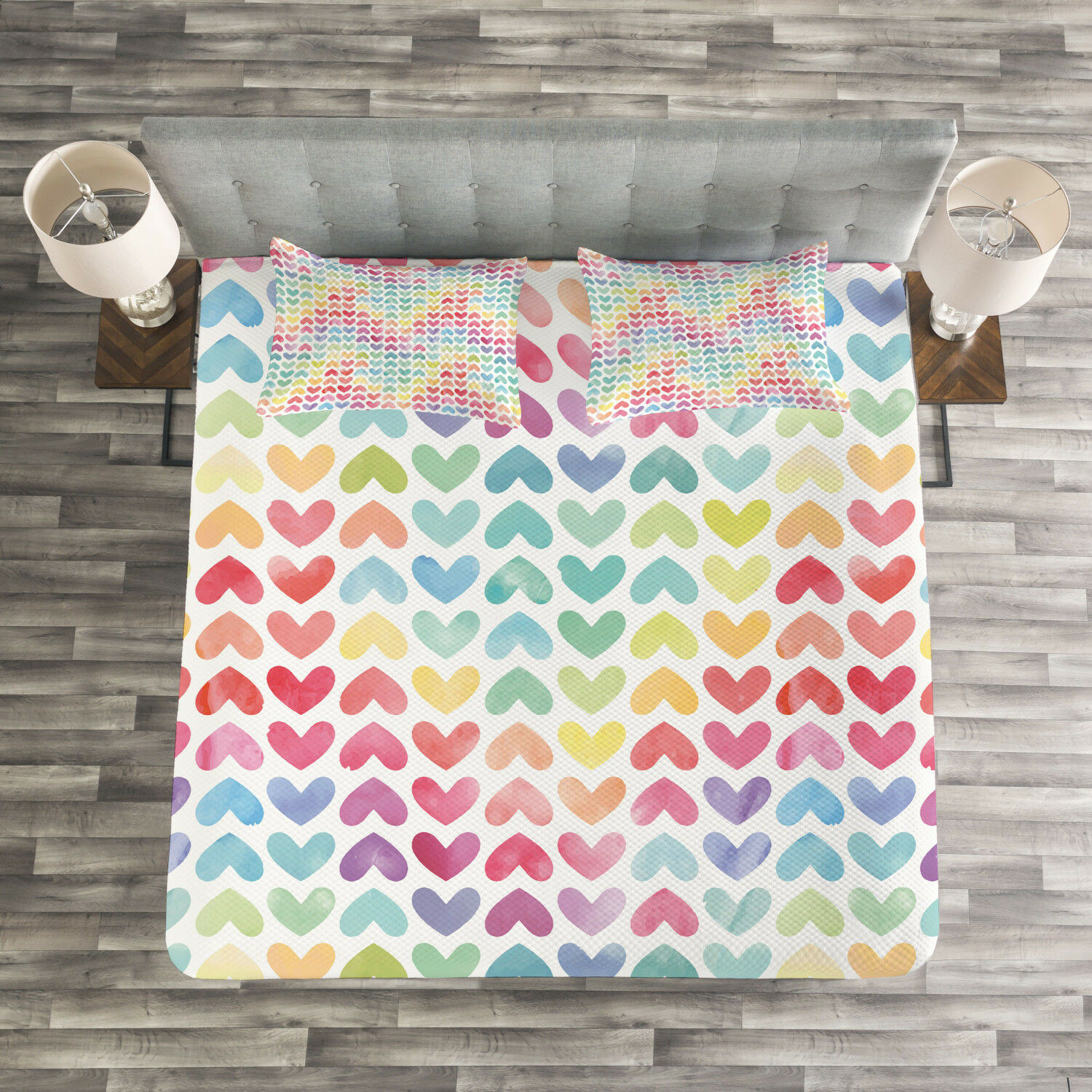 Watercolor Quilted Bedspread & Pillow Shams Set, colorful Cute Hearts Print