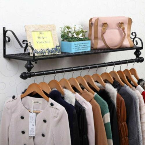 Wall Mounted Garment Clothes Rail Hanging Shop Display Tubing Rack UK