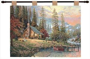 A Peaceful Retreat Mountain Cabin Tapestry Wall Hanging ~ Art by Thomas Kinkade