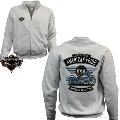 Biker Zip Jacket Sweatshirt Harley-Flathead-Motiv Biker Jacket Motorcycle 4254