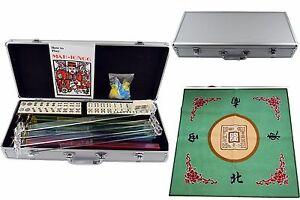 American Mah jong 166 Set Collectible Western Mah Jongg Tiles w/Pushers + Cover