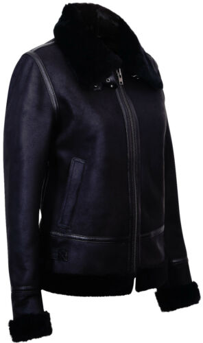 Pilot Real Aviator Black Jacket Biker Leather Ww2 Sheepskin Women's Shearling qP5SwwY