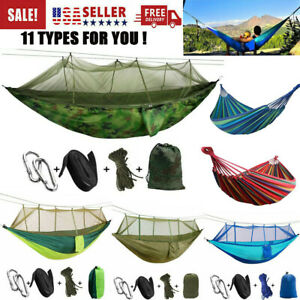 Camping Double Hammock with Mosquito Net Tent Hanging Bed Swing Chair Outdoor US