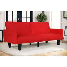 Modern Sofa Sleeper Red Split Wood Upholstery Futon Living Room Furniture Home