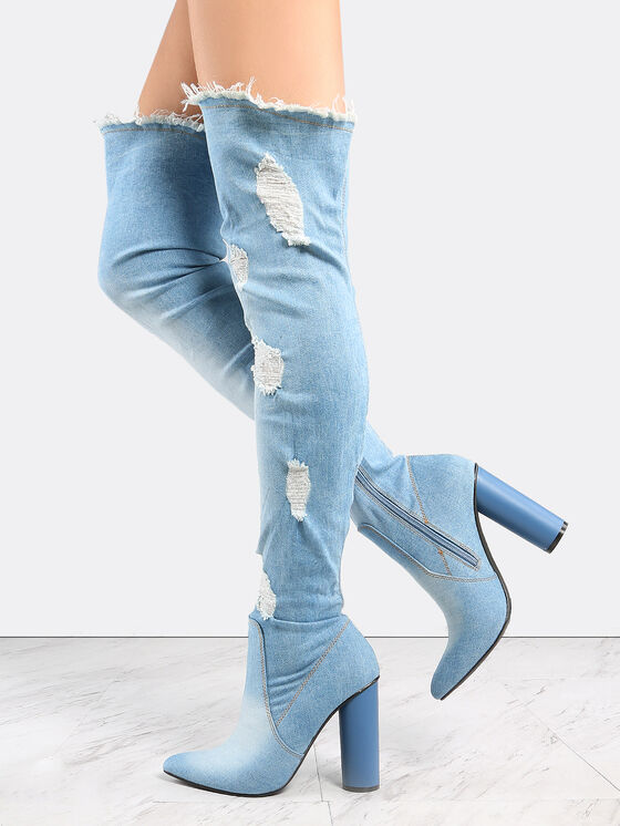 CAPE ROBBIN PAW Pointed Distressed Denim OVER THE KNEE FITTED THIGH HIGH BOOTS