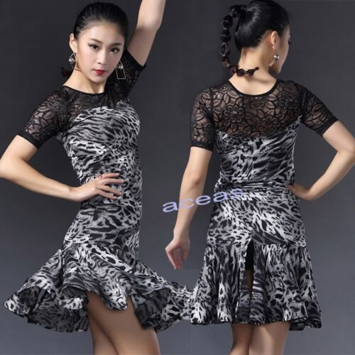Adult Leopard Latin Dance Dress Suits Performance Tops Skirts Ballroom Dancewear