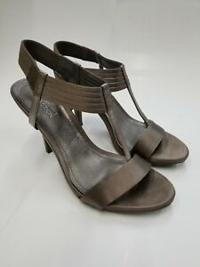 Women-039-s-Kenneth-Cole-Reaction-Know-Way-Pewter-High-Heel-Sandals-Size-8M