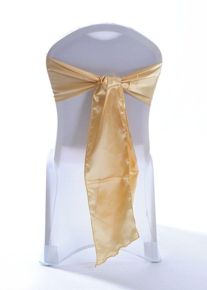 Light Gold Satin Wedding Chair Sashes  1,10,25,50 or 100 sashes