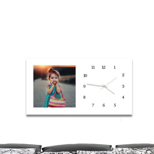 Photo gift//present 75 x 40 cm wall picture with your photo and built-in clock