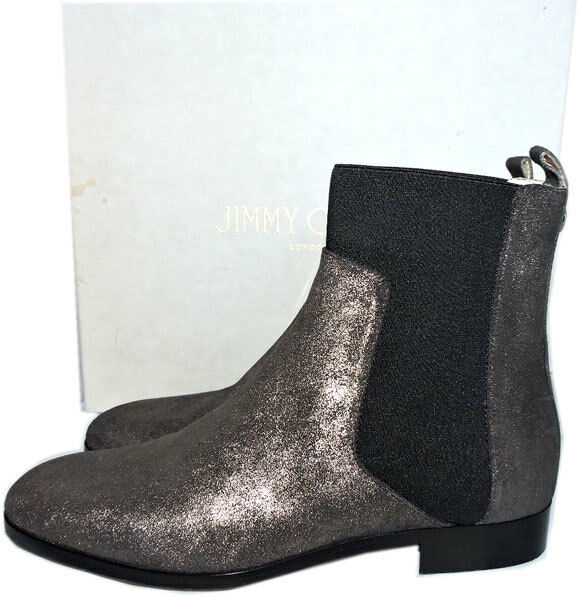950 Jimmy Choo Chelsea Anthracite Metallic Metallic Metallic Shimmer Suede Ankle démarrageies 38 bottes d5af58