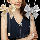 Gorgeous Rhinestone Crystal Diamond Bowknot Pendant Long Sweater Chain Necklace