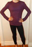 NWT KATE SPADE SATURDAY RIBBED LONG-SLEEVE TEE SHIRT TOP IN PLUM SIZE XS S M