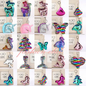 SEQUIN-Mermaid-Keychain-Keyring-Handbag-Bag-Charm-Girls-Xmas-Stocking-Party-Gift