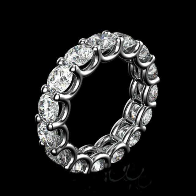 14K White Gold Eternity Band 3.0 Ct D/VVS1 Diamond Wedding Ring Over Silver Sz-8
